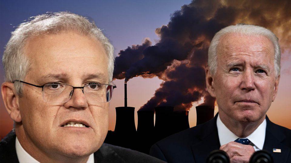 Australian Prime Minister Scott Morrison with US President Biden standing with coal