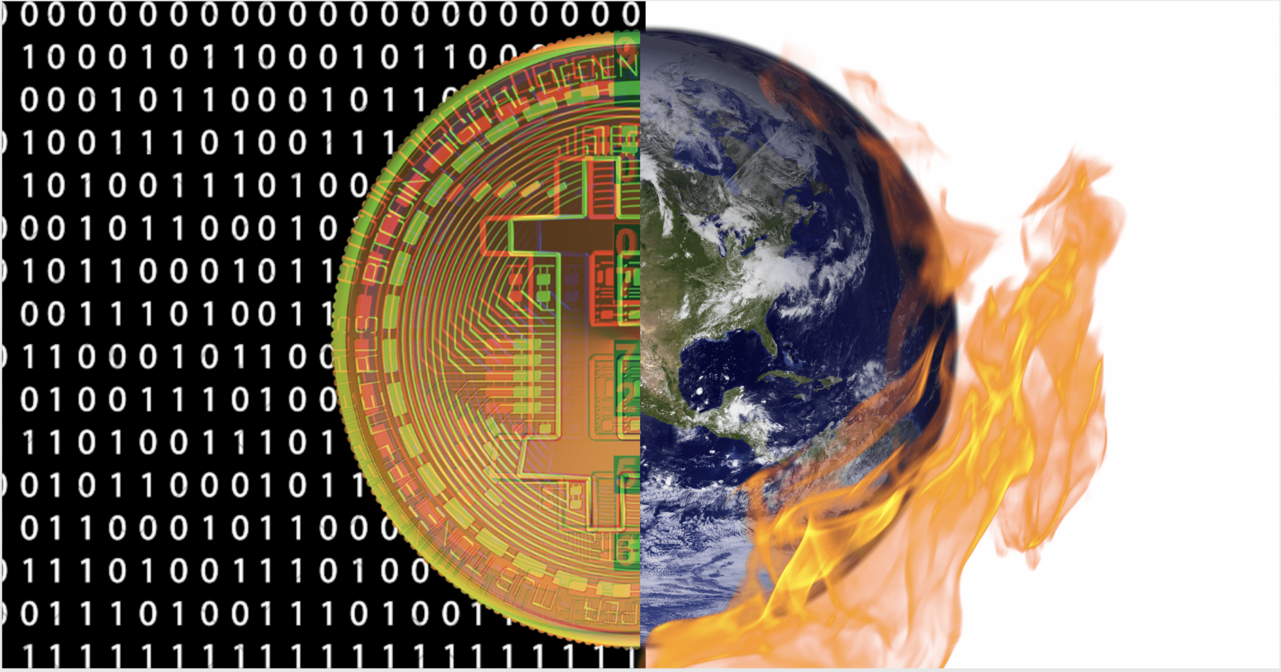 Bitcoin cryptocurrency and climate change with world on fire
