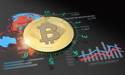 Virtual Bitcoin cryptocurrency financial market graph
