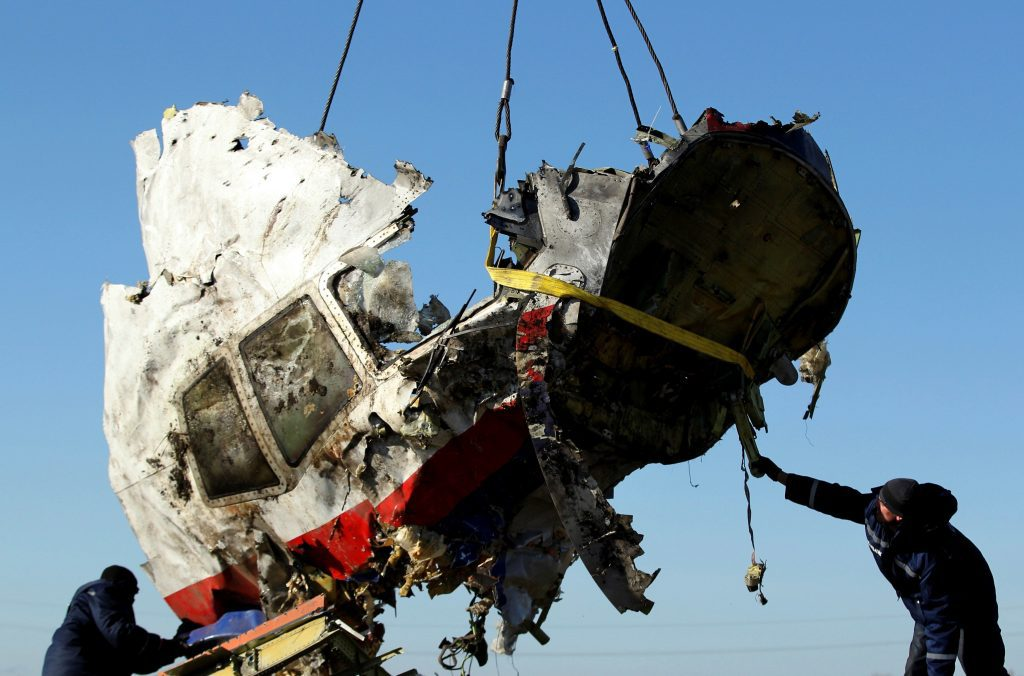 A piece of the MH17 wreckage is lifted at the crash site in Donetsk, Ukraine. File photo: Reuters