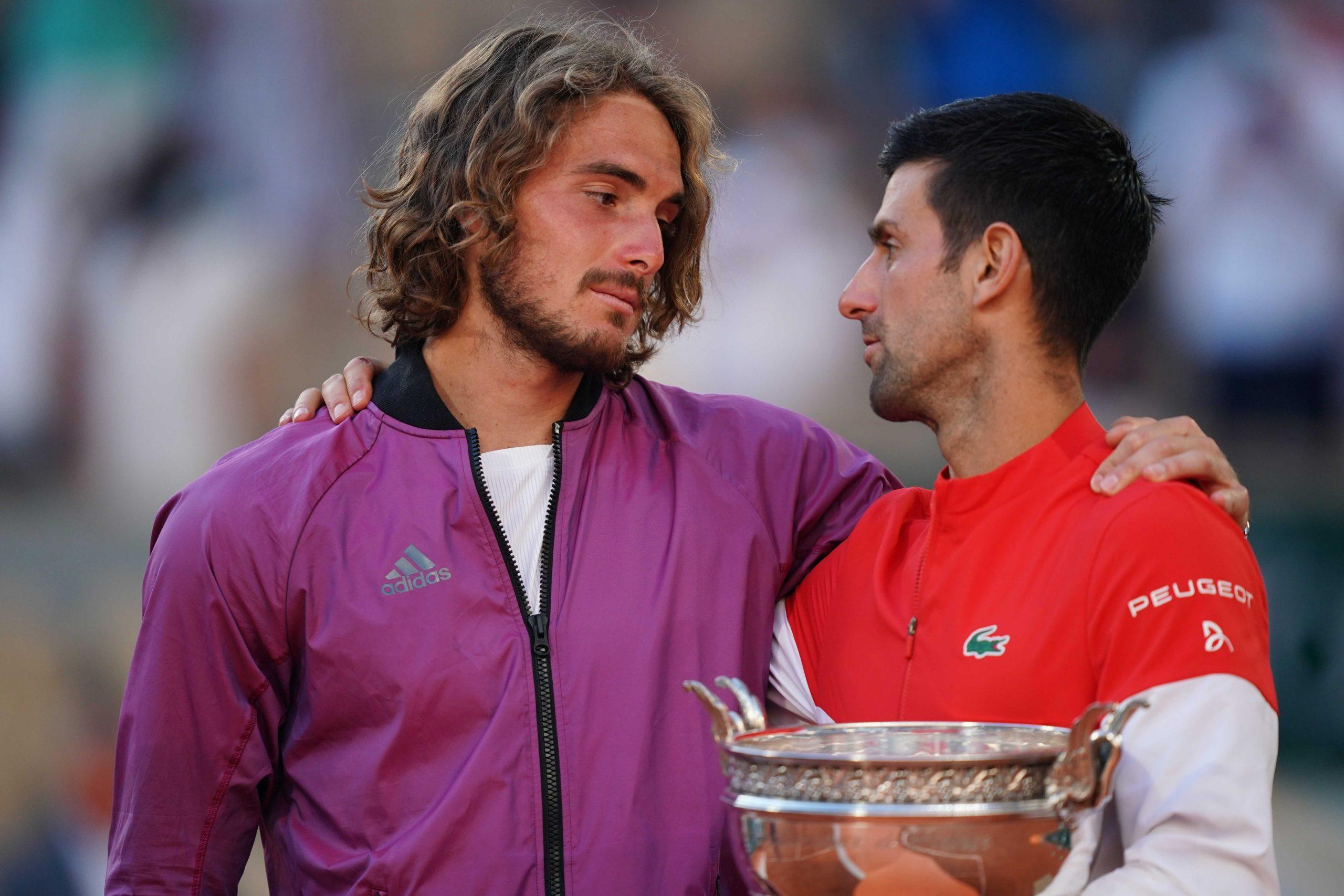Novak Djokovic and Stefanos Tsitsipas at Roland Garros.