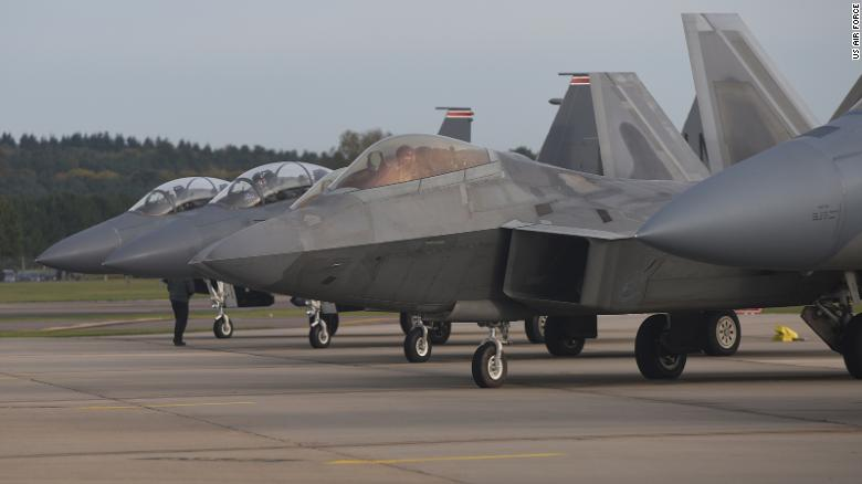 An F-22 Raptor from the 1st Fighter Wing.