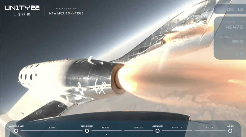The Virgin Galactic rocket ship detached from the mothership.