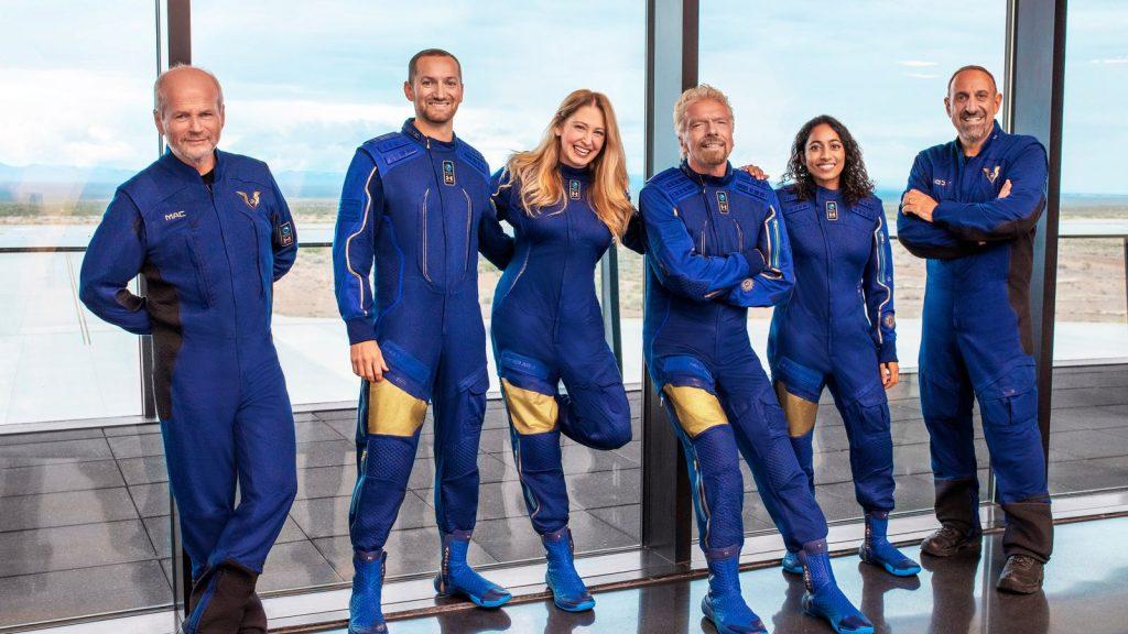 Richard Branson and his five crew mates.