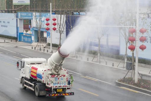 Chinese streets being disinfected last January.